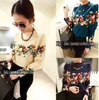 free shipping new 2014 blouse  women's basic shirt female fashion flower graphic patterns top female Blouses & Shirts