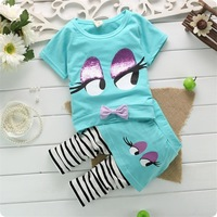 New 2014 Children Girls Shirt+Pants Fashion Sets Children clothing Summer Sets Striped Pants