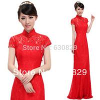 free shipping ladies wedding dress in chinese cheongsam dress long robe skinny lace Qipao S M L XL XXL 22CQP02 free shipping