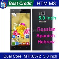 "Free shipping!Original HTM M3 MTK6572 dual core 1.3GHZ 5.0"" Andriod 4.2 Cell phone 4GB ROM 5MP Dual Sim WCDMA GPS Russian/Kate"