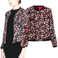 wholesale hot sale women floral print slim short jacket lady vintage long sleeve stand collar punk streetwear baseball jacket