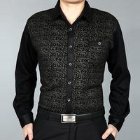 Male winter thickening long-sleeve shirt men's mercerized cotton print men's clothing fashion 100% cotton shirt