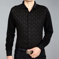 Septwolves men's clothing long-sleeve shirt autumn male 100% cotton wool print shirt
