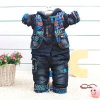 2014 New Winter Baby Set  Cotton Denim Newborn Boys Casual Fashion Suits Cartoon Children Hoodies Jeans  Baby Clothing Sets