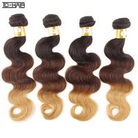 TD HAIR Remy Brazilian Virgin Hair Body Wave Hair Weaves Grade 6A 100% Human Hair Extensions 4pcs lot Ombre Color 1b/4/27#