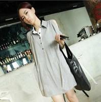 new korean  summer shoulder lapel long maternity dress clothing t-shirt for pregnant