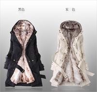 Faux fur lining women's fur Hoodies Ladies coats winter warm long coat jacket clothes,Free Shipping
