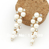 Fashion Hot Sale New Arrival Sparkling Luxrious OL Simulated Diamond Pearl Women's Wedding Earring