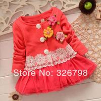 infant female cotton-padded jacket winter wadded jacket outerwear
