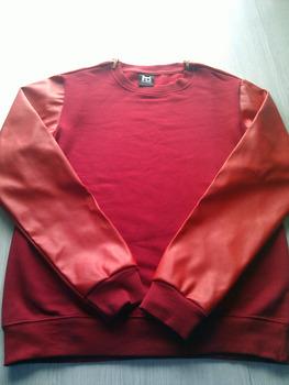 All Red PU Leather Sweatshirt Golden Shoulder Zipper/ Hiphop Crewneck Sweatshirts/ ...