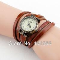 2014 New Women's Punk Style Vintage Long Wrap Leather Band Casual Quartz Wrist Watch Hours