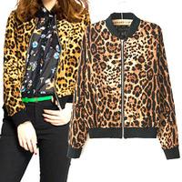 2014 wholesale hot sale women leopard slim jacket lady long sleeve stand collar zipper outerwear