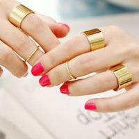 Sunshine jewelry store Shiny Punk Polish Gold Stack Plain Band Midi Mid Finger Knuckle Ring Set high quality Rock