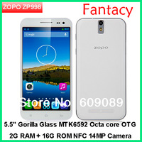 Unlocked ZOPO ZP998 Octa Core Smartphone 1.7GHz 5.5 Inch Gorilla Glass FHD Screen 2GB 16GB Android 4.2 OTG NFC- Black