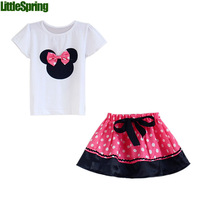 PREORDER Big Sale 2014 Summer Children Girl's 2PC Sets Skirt Suit Minnie Mouse baby Clothing sets dots skirt dot pants ELZ-T0224
