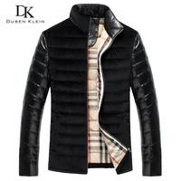 2014 New sheepskin genuine leather &velour+slim leather clothing down +Fashion men's jacket DK088 free shipping