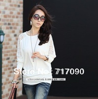 new 2014 women fashion white black blusa loose blusas lace bat shirt ladies blouses big size t shirt women batwing top blouses