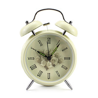Vintage Metal Rose Flower Leaf Twin Double Bell Desk Table Alarm Clock Cream
