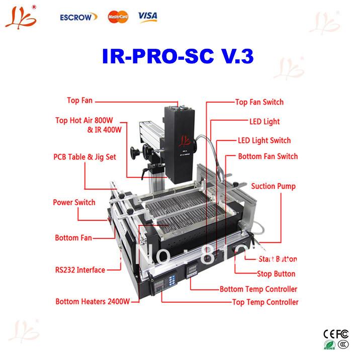 BGA rework station IR-PRO-SC V.3 bga machine for repairing motherboard/chipset, bga repair machine, also have bga reballing kits(China (Mainland))
