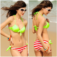 B117 VS Brand Stripes Push Up Bikini Set For Women Swimwear Sexy Beach Wear Swimsuit Fluorescent Biquini Bathing Suit 2014 New