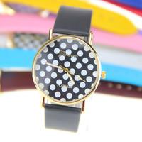 10 colors Fashion Geneva Watch Leather Dots Wacth Women Dress Watch Leather Strap Watch 1piece/lot BW-SB-464