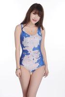 2015 New Fashion Hot  World Map pattern blue bottom Swimsuit Suit Bikin Swimwear Color pattern Milk Silk Swimsuit  Free Shipping