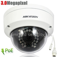 3.0 Megapixel HIKVISION 3.0Mp HD ONVIF POE Outdoor IP66 Waterproof Dome IR Network IP Camera DS-2CD3132-I