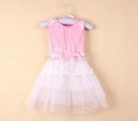 2014 new kid Summer  cotton princess lace  tutu girl dress dresses  kid apparel green pink discount  ,13DEC282-LQ