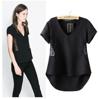 New 2014 Women Fashion Black V Neck Side Lace Patchwork Irregular length T shirt T-shirts Tops for Women