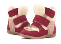 Isabel Marant Genuine Leather Sneaker Wolen's Winter Velcro Elevator  Invisible Height Increase Casual Shoes DJH2