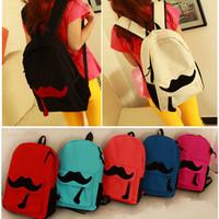 Promotion New 2014 Korean Moustache canvas women backpacks travel bag student school bags casual preppy style mochila 19 colors