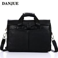 2015 vintage genuine leather bag men briefcase laptop bolsas brand handbags shoulder bags business leather sac men travel bags