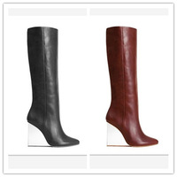 Mmm 2014 new arrival fashion wedges with transparent genuine leather boots knee-length boots  thigh high boots