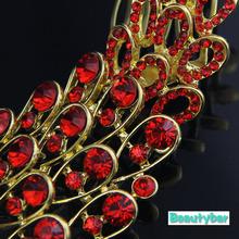 Fashion Gold Peacock Bridal Wedding Hair Comb Lucky Bird Sparkling Phonix Insert Hair Comb Marriage Headpiece