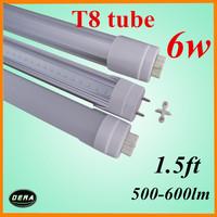free shiping T8 led tube 45cm led tube 6w 85-265v G13 light bulb 1.5ft  500-600lm led fluorescent lamp warm white  EMC&CE