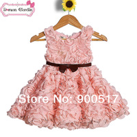 2014 New dress with brown belt girls floral  dress kids party one-pieces children dancing dress spring dress for about 2-7years