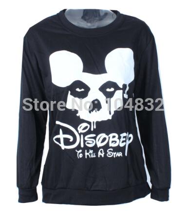 East Knitting G10 NEW 2014 women's sweatshirts harajuku cartoon print hoodies Skull cross head pullovers free shipping S M L(China (Mainland))