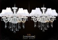 "Guaranteed 100% D23.2 "" Crystal Chandelier lamp White feather 6 lights home decor luxury crystal lights with lampshade"