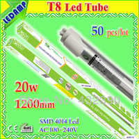 50 pcs/lot New T8 LED Tube Fluorescent Replacement 120cm 4ft 20w led tube lamp Day White 6000-6500K AC 110V 220V CE Rohs PSE