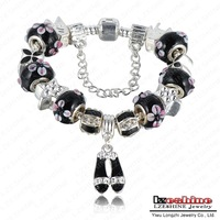 Black Bead Bracelet Silver Charm Bead Brand Bracelet Men Jewelry Enamel Bangle PA-BR0008-4