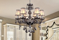 "luxury  D22.8 "" Crystal Chandelier lamp gray color 6 lights crystal  lights use for living room dining room with lampshade"
