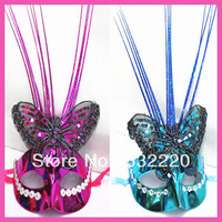 Free shipping new arrival bright wire colorful embroidered with butterflies dance party mask designs