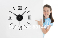 crafts 2014  Metallic-feeling 3D DIY Funny Wall Clock Modern Design Decorative Fashion Roman Numeral Wall Clocks Home Decoration