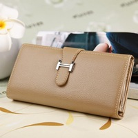 9 Color Women Lady PU Leather Drawnstring H Buckle Medium Style Handbag Wallet Purse