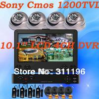 Sony 138 + FH8520 CMOS 1200TVL 4CH DVR Camera Kit 10.1'' LCD All in one DVR  IR Metal Dome Camera Security system