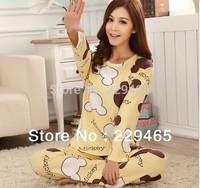 2014 spring new fashion women silk pajamas soft cute cartoon home lounge wear clothes sleepwear tracksuit pullover nightwear
