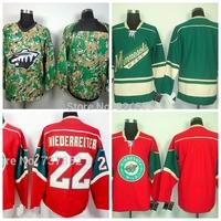 2014 Minnesota Wild Hockey Jerseys blank/#22 Nino Niederreiter Jersey Home Red  Green camo Stitched Jerseys