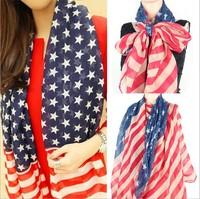 (Wholesale 10pcs/lot) Brand New 2014 Vintage American Flag Scarf Top Fashion cotton Scarf Women Shawl 180x110cm Free Shipping
