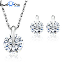 White Gold Plated Wedding Jewelry Sets  #JS100222 Jewelora Silver Jewelry Sets