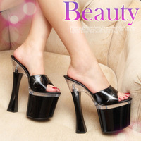 plus size34-43 2014 summer 19cm Super high heels sexy performance nightclub platform rome slippers lady trend of sandals
